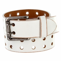 "Ben Two Holes Vintage Full Leather Casual Jean Belt 1-1/2"" (38mm) White"