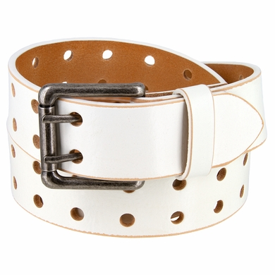 """Ben Two Holes Vintage Full Leather Casual Jean Belt 1-1/2"""" (38mm) White"""