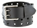 "Ben Two Holes Vintage Full Leather Casual Jean Belt Black 1-1/2"" (38mm) Black"