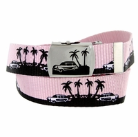 BF50090 Palm trees Canvas Military Web Punk Belt 1. 25 inch wide - Pink