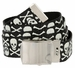 BF6273 Black Canvas Military Web Punk Belt 1. 25 inch wide White Skull2
