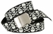 BF6273 Black Canvas Military Web Punk Belt 1. 25 inch wide White Skull3