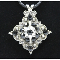 Black / Clear Swarovski Rhinestone Crystal Diamond Shape Concho Necklace