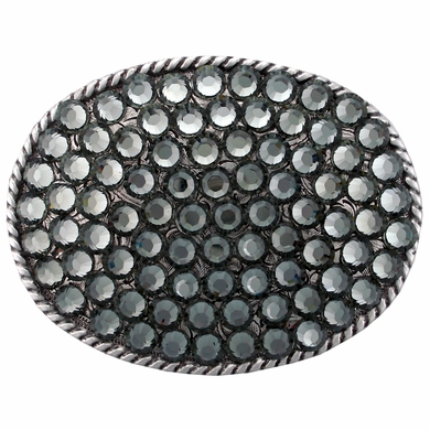 "Black Diamond Swarovski Rhinestone Belt Buckle Fits 1 1/2"" Wide Belts"