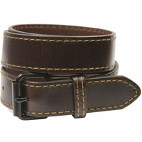 Black Roller Buckle 1051 Brown Genuine Leather Belt