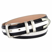 "Perforated Casual Genuine Leather Golf Belt - 1 1/4"" Black/White"