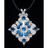 Blue/Clear Rhinestone Crystal Diamond Shape Concho Necklace
