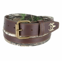 Bone Collector Camouflage Canvas Outdoor TV Huntsmen Leather Tab Casual Belt - Brown