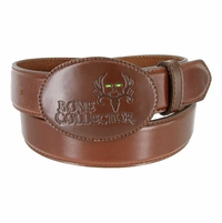 Bone Collector Leather Covered Buckle Outdoor TV Huntsmen Casual Leather Belt - Brown