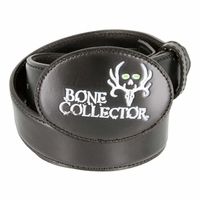 Bone Collector Leather Covered Buckle Outdoor TV Huntsmen Casual Leather Belt - Black