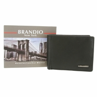 Brandio New York Genuine Leather Bifold Wallet - Black