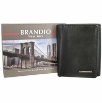 Brandio New York Genuine Leather Trifold Wallet - Black