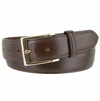 "Brian's Business Genuine Leather Belt with Gold Buckle   1-3/8"" wide"