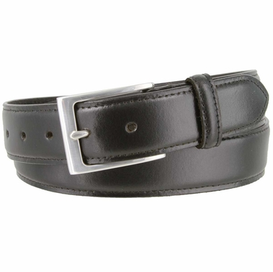 "Brian's Business Genuine Leather Belt with Silver Buckle   1-3/8"" wide"