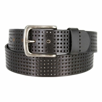 "Brody Perforated 100% Leather Casual Jean Belt 1-1/2"" Wide - Black"
