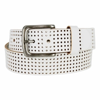 "Brody Perforated 100% Leather Casual Jean Belt 1-1/2"" Wide - White"
