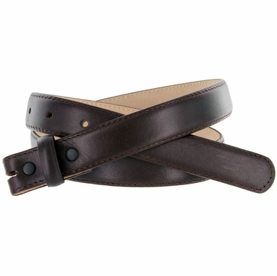 "Brown Smooth Leather Belt Strap 1"" Wide"