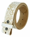 "BS036 Western Floral Engraved Tooling Full Grain Leather Belt Strap 1-1/2"" - White1"