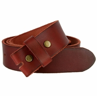 "BS040 Vintage Full Grain Leather Belt Strap 1 1/2"" Wide - Burgundy"