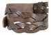 "BS058 Genuine Full Grain Leather Woven Tooled Belt Strap 1-1/2"" Wide - Brown1"