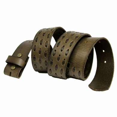 "BS0848 Brown Leather Belt Strap 1 1/2"" Wide"