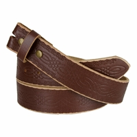 "BS085 Full Grain Tooled Leather Belt Strap 1-1/2"" wide Dr. Brown"