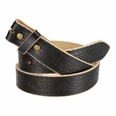 "BS085 Full Grain Tooled Leather Black Belt Strap 1-1/2"" wide"
