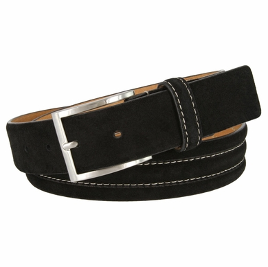 "BS110 Men's Genuine Suede Casual Dress Leather Belt 1-3/8"" (35mm) Wide - Black"