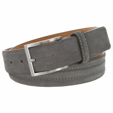 "BS110 Men's Genuine Suede Casual Dress Leather Belt 1-3/8"" (35mm) Wide - Gray"