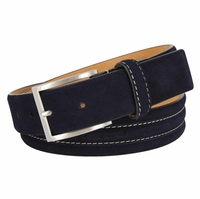 "BS110 Men's Genuine Suede Casual Dress Leather Belt 1-3/8"" (35mm) Wide - Navy"