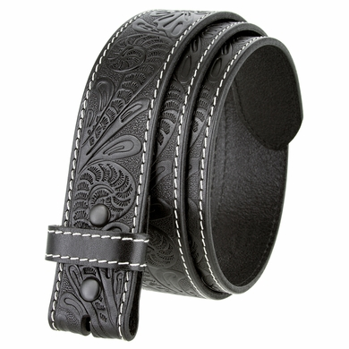 "BS118 Western Floral Engraved Tooled Leather Belt Strap 1-1/2"" - Black"