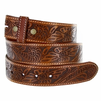 "BS118 Western Floral Engraved Tooled Leather Belt Strap 1-1/2"" - Tan"