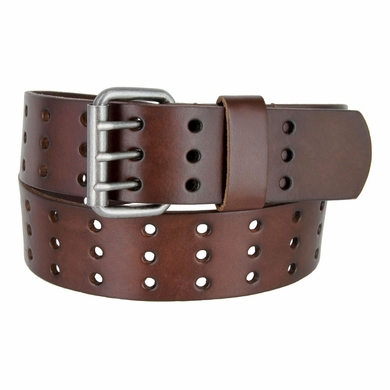 "BS200 Three Hole Genuine Leather Casual Jean Belt - Brown 1-3/4"" wide"