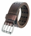 "BS200 Three Hole Genuine Leather Casual Jean Belt - Brown 1-3/4"" wide3"