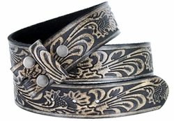 "BS220 Western Embossed Snaps On Belt Strap 1-1/2"" Wide - Vintage Black"