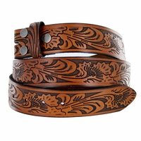 "BS220 Western Embossed Tooled Belt Strap 1-1/2"" Wide Brown"