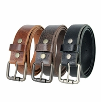 "Men's Genuine Full Grain Vintage Leather Belt 1-1/2"" (38mm) wide with Roller Buckle"