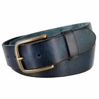 "JT Vintage Men's Vintage Full Grain Cowhide Leather Casual Jeans Belt 1-1/2"" Wide - Navy"