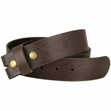"BS423 Brown 100% Full Grain Leather Embossed Western Belt Strap 1-1/2"" Wide"