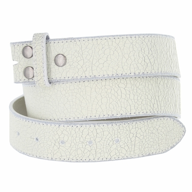 "BS56 White Distressed Leather Belt Strap 1 1/2"" Wide"