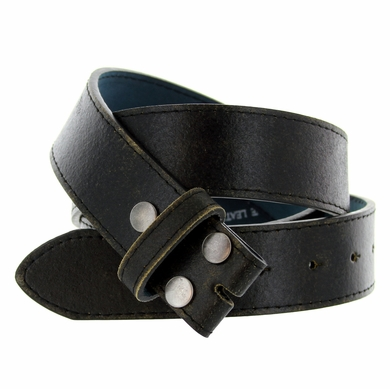 "BS57 Distressed Genuine Leather Belt Strap 1-1/2"" Wide - Black"