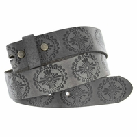 "BS070 Full Grain Leather Belt Strap 1 1/2"" Wide - Earth Gray"