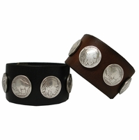 "Buffalo Nickel Coin Conchos Biker Wristband 1 1/2"" Wide"