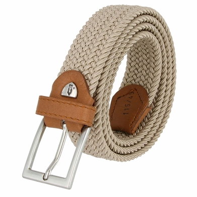 "C019/30 Italian Stretch Belt With Leather Tabs 1-1/8"" Wide Made in Italy Naturale (Beige)"