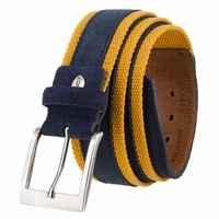 C044 Men's Italian Suede Fabric Leather Casual Belt Navy/Brown
