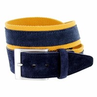 C044 Men's Italian Suede Fabric Leather Casual Belt Navy/Yellow
