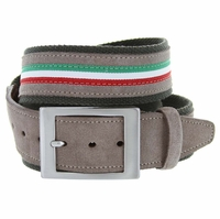 C045 Men's Italian Casual Suede Leather Belt Verde(Green)/Taupe(Gray)