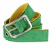 C075/40 Suede With Canvas Backing Center Buckle Belt Made In Italy - (Green/Yellow)2