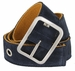 C075/40 Suede With Canvas Backing Center Buckle Belt Made In Italy - (Navy/Old Gold)2