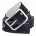 C075/40 Suede With Canvas Backing Center Buckle Belt Made In Italy - (Navy/White)2